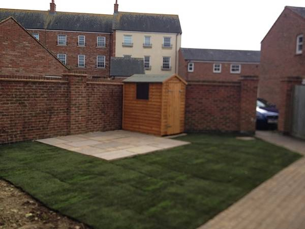 Turf, patio and shed Fairford Leys after